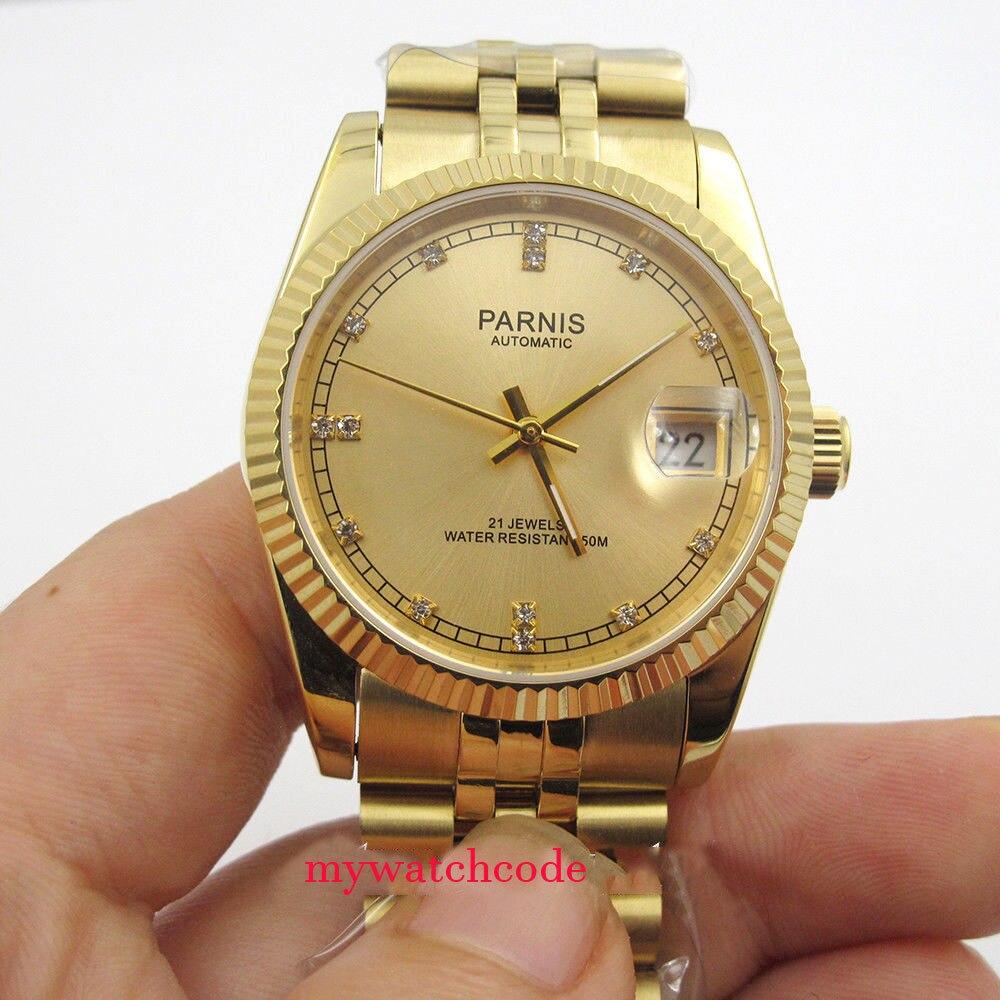 36mm Parnis yellow gold diamond dial Datejust Miyota 8215 automatic mens watch