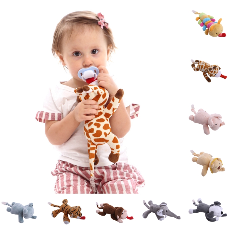 New Baby Boy Girl Dummy Pacifier Chain Clip Plush Animal Toys Soother Nipples Holder