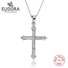 100% Real 925 Sterling Silver Cross Pendant Necklace Accessories Micro Pave with Clear White AAA CZ Chain Jewelry for Women