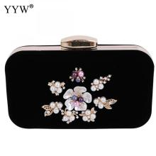 Women Evening Clutch Bags with pearl Rhinestone ladies Shoulder Handbags Classical Style Small Purse Chain Clutch Bag black glitter clutch bags with chain