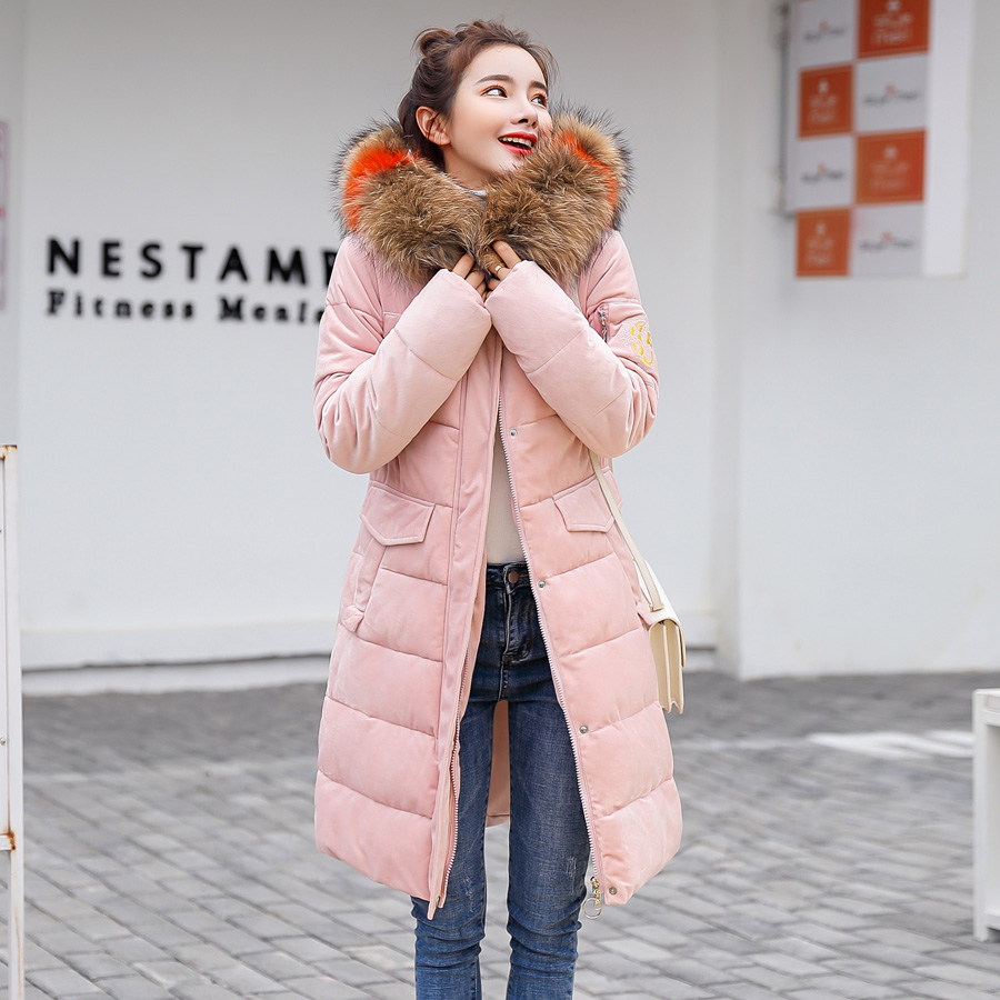 2018 winter jacket women casual solid thick winter coats womens clothing chaqueta mujer with fur collar hooded long jacket parka
