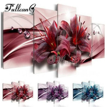 FULLCANG diy 5pcs diamond painting three color abstract flower full drill rhinestone cross stitch mosaic embroidery kits G1134 fullcang full square diamond embroidery vegetable abstract color map 5pcs diy diamond painting cross stitch mosaic kits g650