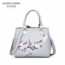 SUNNY SHOP 3D Stickerei Frauen Tasche Nationalen Fashion Floral Handtaschen Kleine Umhängetaschen Pu-leder Stilvolle Feste