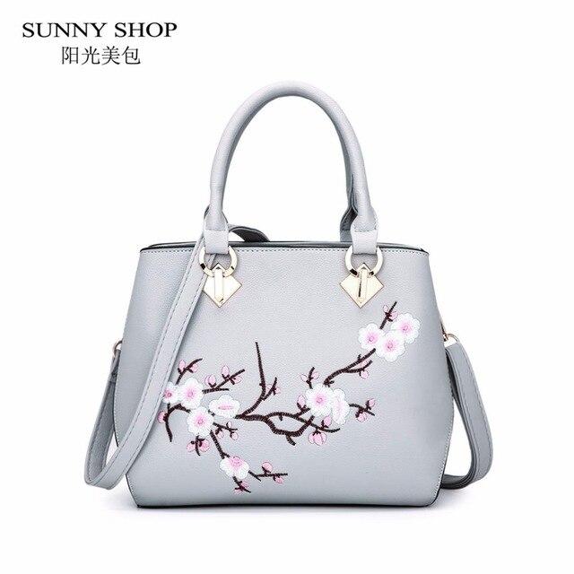 44b08dc522e9 SUNNY SHOP 3D Embroidery Women Bag National Fashion Floral Handbags Small Crossbody  Bags PU Leather Stylish