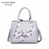 SUNNY SHOP 3D Embroidery Women Bag National Fashion Floral Handbags Small Crossbody Bags PU Leather Stylish