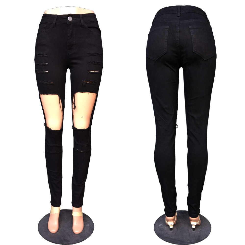 2dcbe4ab57584 ... Hot Sexy Women Big Holes Black Denim Jeans Casual Ladies Wash Denim  Ripped Pencil Pants Big