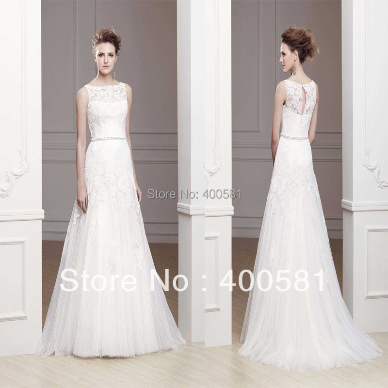 d029e318ccb Wholesale Illusion Bateau Neckline A-line Sweep train Keyhole Back Floral  Appliques Beaded Tulle Wedding Gowns And Bridal Dress