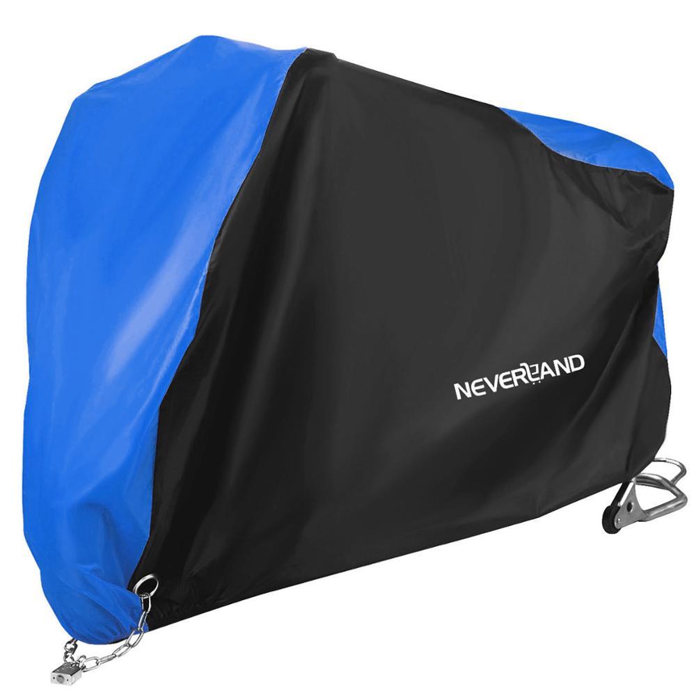 190T Schwarz Blau Design Wasserdichte Motorrad Abdeckungen Motoren Staub Regen Schnee UV Schutz Abdeckung Indoor Outdoor M L XL XXL XXXL D45