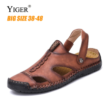 YIGER New men casual Sandals beach sandals large size man cow leather leisure  shoes male slippers slip-on non-slip 291