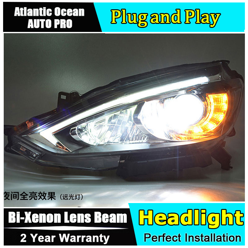 Auto part Style LED Head Lamp for Nissan Sylphy Sentra led headlight 2015 for Sentra drl H7 hid Bi-Xenon Lens angel eye low beam auto lighting style led head lamp for mazda 3 axe headlights for axela led angle eyes drl h7 hid bi xenon lens low beam