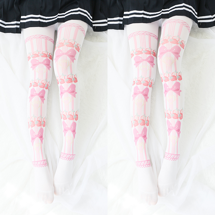 Buy Princess sweet lolita Podresum pantyhose Cute strawberry Lolita printing pantyhose bow tie tight cosplay maid pantyhose ymx02