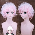 "Danganronpa Komaeda Nagito Short Curly Wavy Cosplay Wig for Man Boys 30cm 13"" Heat Resistant Synthetic Hair White Pink Gradient"