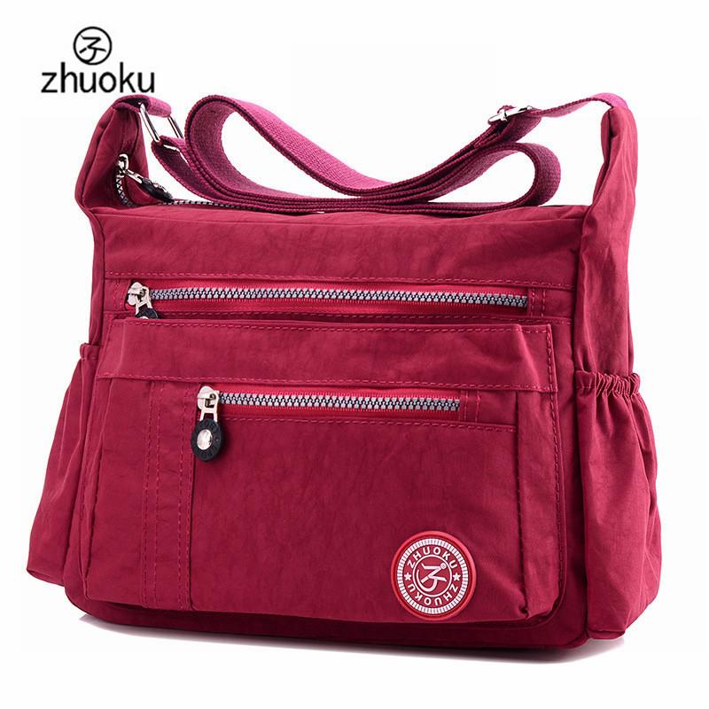 zhuoku nuevo lujo bolsos femeninos bolsa de diseador hombro de las seoras del bolso de nylon