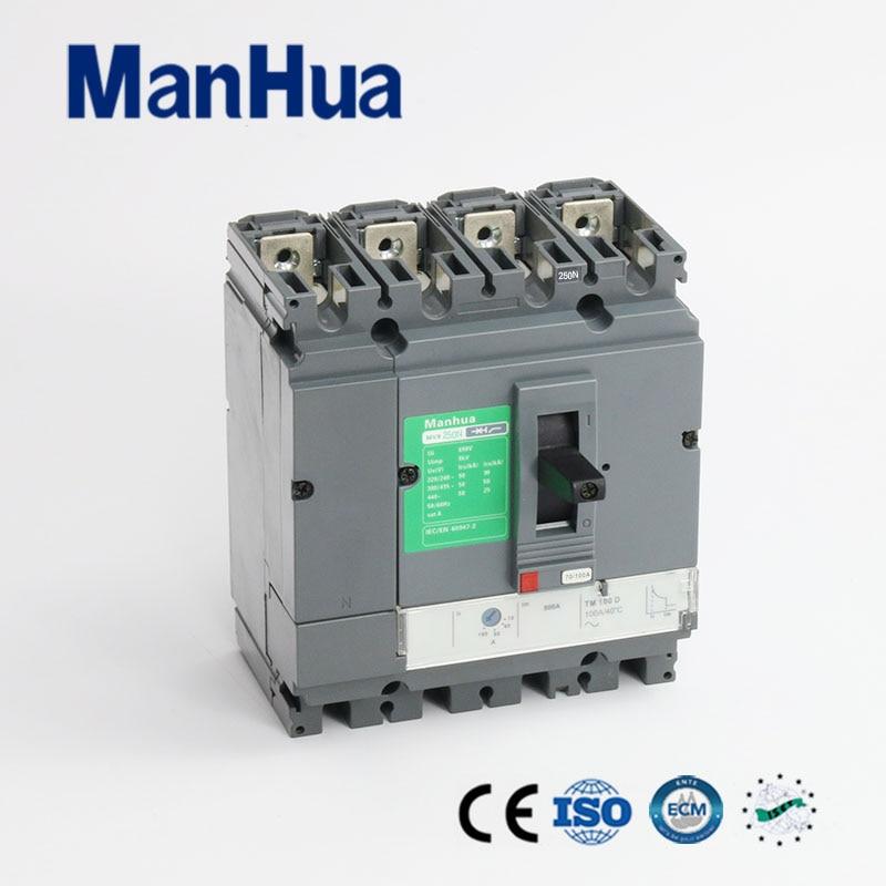 Manhua CB Certifié CE Pouvoir de Coupure Réglable 250A 4 p MVS-250N Boîtier Moulé Disjoncteur