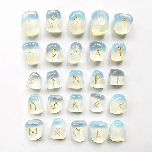Juego de Runas de Piedra ópalo de opalita blancas, amuleto de piedras caídas de adivinación, vikingas runas, piedras, Burbuja, manualidad casera Feng Shui