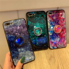 Tfshining Gradient Marble Stone Phone Case For iPhone X XS XR Max 7 8 6 6s Plus Conch Shell Finger Ring Holder Stand Cover