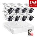 ZOSI 5MP CCTV видеонаблюдения IP камера системы 8 каналов видео ночного видения DVR комплект Удаленный просмотр на телефоне с HDD