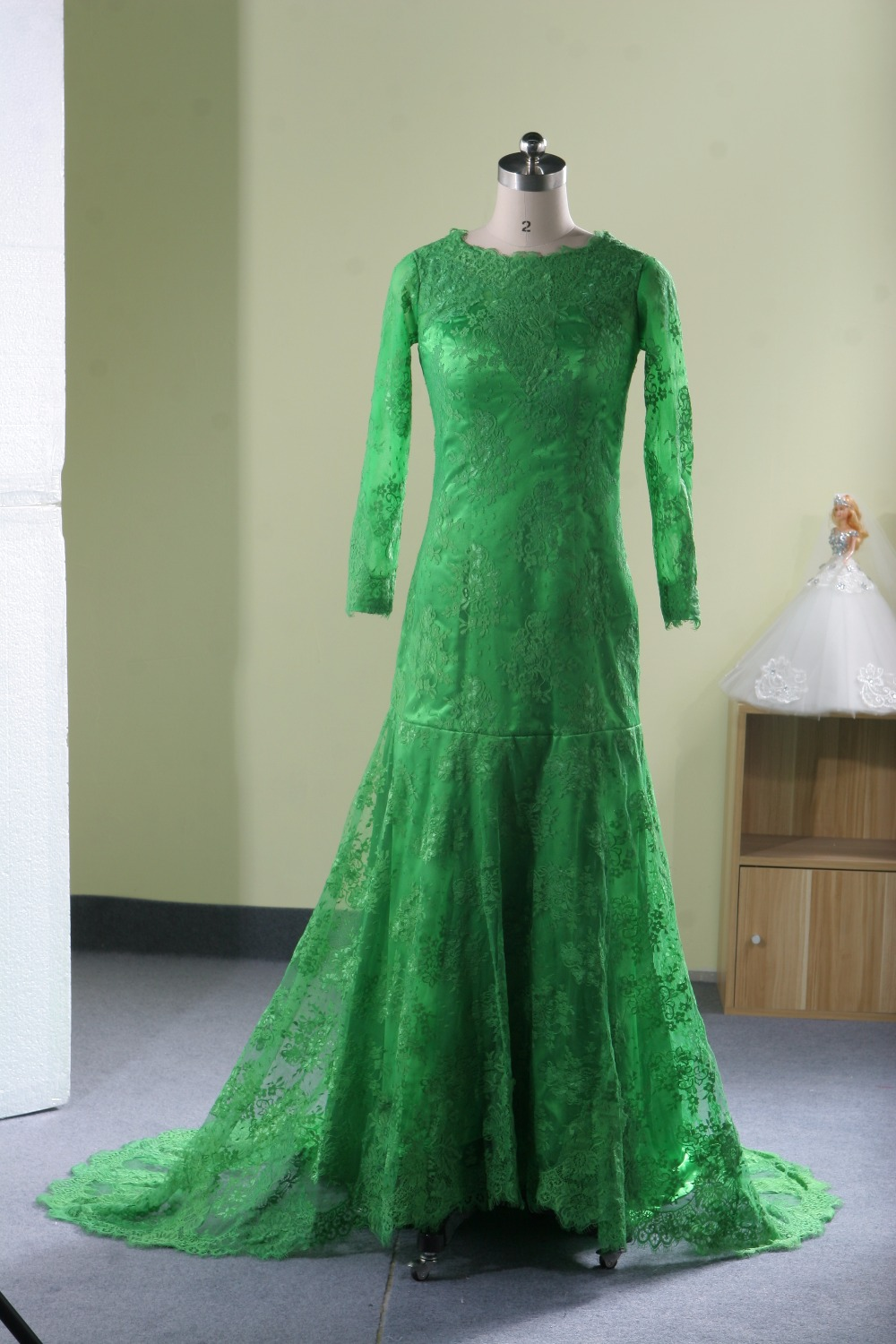 c968c53460b Long Sleeve Muslim Emerald Green Evening Dress Lace Turkish Pregnant  Maternity Evening Prom Dresses Gowns Abaya Designs Dubai