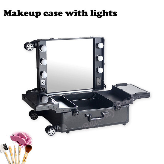 Aluminum Frame Makeup Artist Beauty Case With Lights Without Legs Lighted Cosmetic Vanity Trolley Case