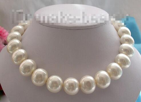 Free shipping> stunning large 19mm baroque white necklace of South Sea pearl necklace a suit of stunning faux pearl rhinestoned necklace and earrings for women
