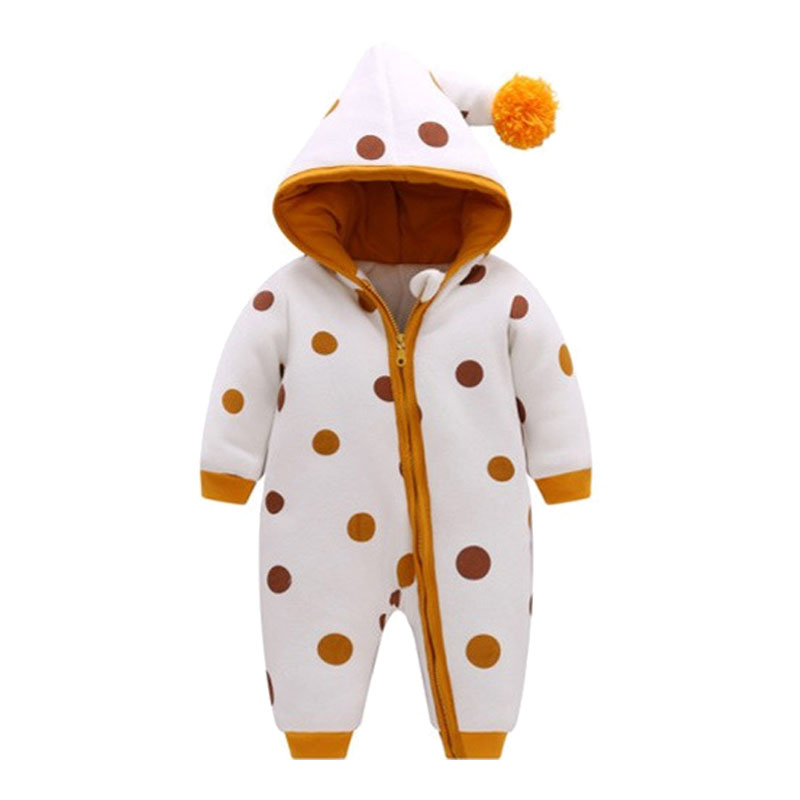 Fashion 2018 Newborn Baby Rompers Winter Thick Warm Kid Baby Girls Boys Infant Clothing Polka Dot Hooded Jumpsuit Kids Outwear baby rompers winter thick climbing clothes newborn boys girls warm jumpsuit 2018 high quality ski suit outwear for infant 0 18 m