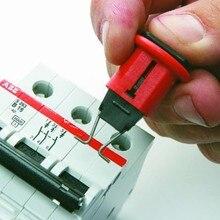 10 шт./лот POS MCB Блокировка кнопочный замок собаки, MCB замок, тогл замок безопасности автоматический выключатель замок, распиновка блокировки