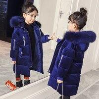 Winter Children Girls Coats Kids Cotton Padded Raccoon Fur Collar Hooded Warm Overcoats Outfits Girls Gold Velvet Jackets P223