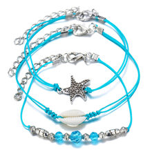Multi-layers Blue Starfish For Women Nature Shell Anklets Set 2019 Bracelet On Leg Barefoot DIY Foot Jewelry Accessories Gift