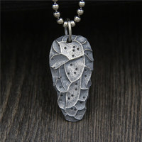 C&R Real 925 Sterling Silver Necklace Meteorite Shaped Pendant Retro Personality Man and Woman Vintage Fine Jewelry