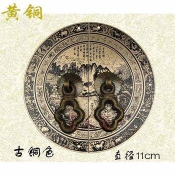 [Haotian vegetarian] Chinese decoration antique copper door handle Classical handle HTB-224 shoe models landscape