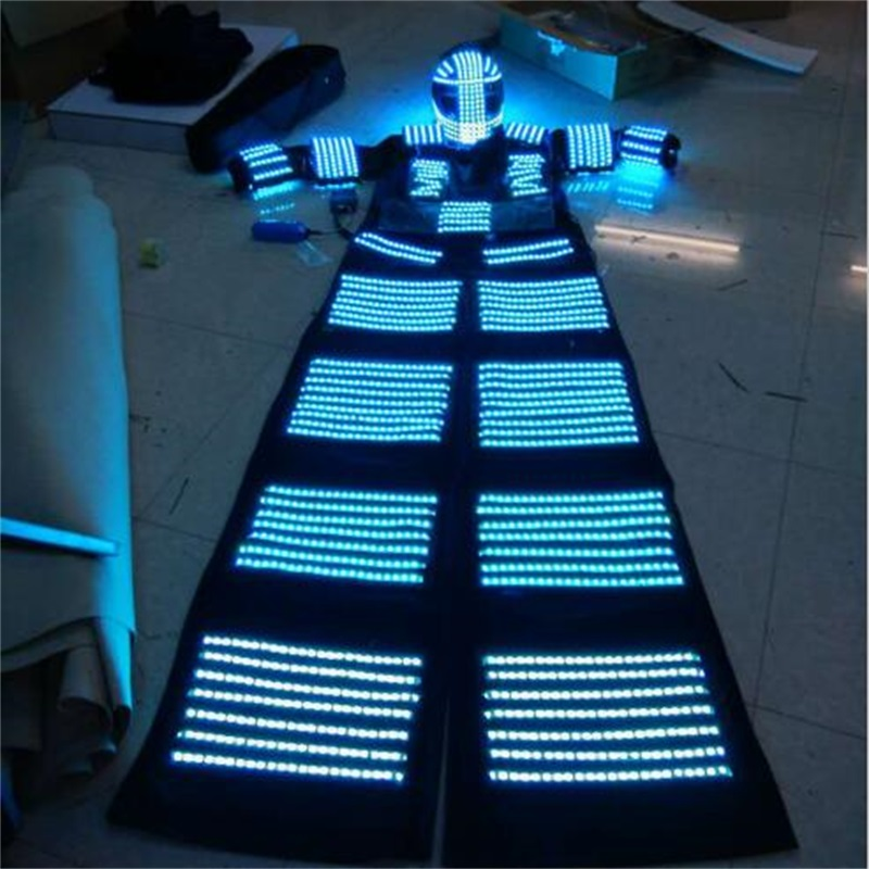 LED dəbilqə ilə işıqlı işıqlı bükülmüş robot kostyum - Şənlik aksesuarları - Fotoqrafiya 4