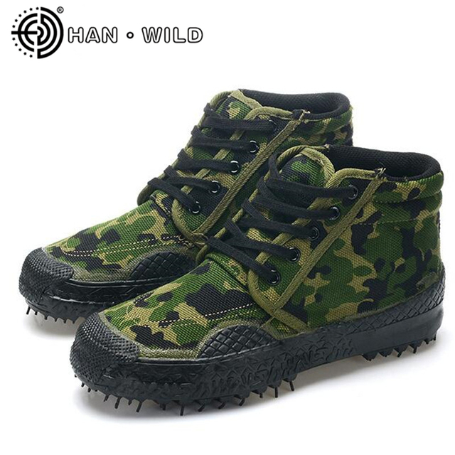 c832ca7ec Men Boots Natural Rubber Soles Camouflage Canvas Shoes Men Work Safety Shoes  Military Tactical Desert Boots Ankle