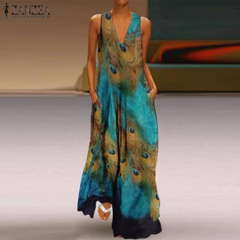 541902cc78fdd Low Cost 2019 Summer Sundress ZANZEA Plus Size Women Long Maxi ...