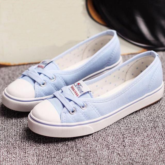 Verano superficial zapatos de lona mujeres de corte bajo talón plano cordón zapatos casuales suela blanda Zapatos Zapatillas Deportivas envío gratis