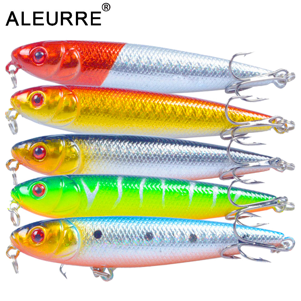 8cm 9.5g Pencil Fishing Lure Snake Head Hard Artificial Bait 3D Eyes 6# Hooks Fishing Wobblers Topwater Crankbait Minnow Pesca-in Fishing Lures from Sports & Entertainment