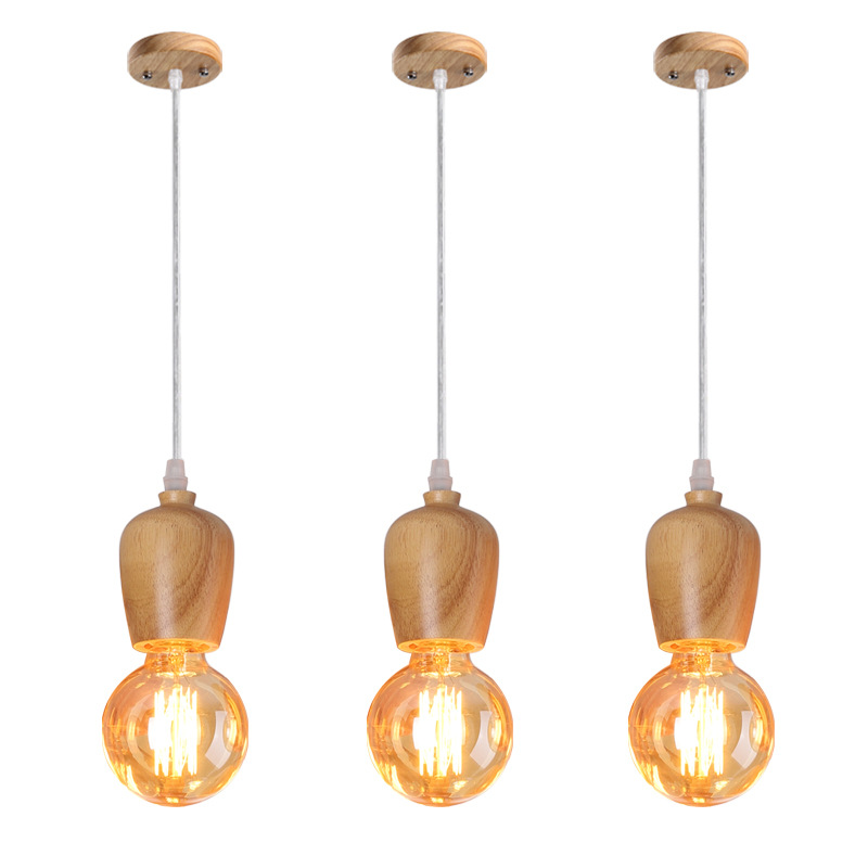 Postmodern Simple Pendant Lamp Wood Art  Dining Room Lighting Cup E27 Solid Wood Decorative Pendant LightsPostmodern Simple Pendant Lamp Wood Art  Dining Room Lighting Cup E27 Solid Wood Decorative Pendant Lights