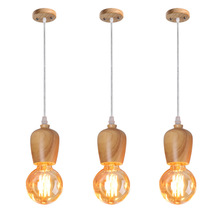 Postmodern Simple Pendant Lamp Wood Art  Dining Room Lighting Cup E27 Solid Decorative Lights