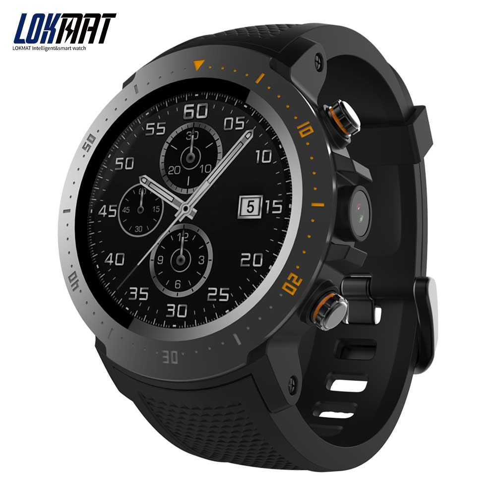 LOKMAT Android SmartWatch Heart Rate monitor 1GB/16GB Bluetooth Waterproof WIFI GPS 4G Men