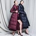 Nuevo Lujo 2016 de Invierno chaqueta de Las Mujeres chaquetas de Lana Spliced delgado Abrigos por patchwork-x largo prendas de Vestir Exteriores de las mujeres abajo de la capa