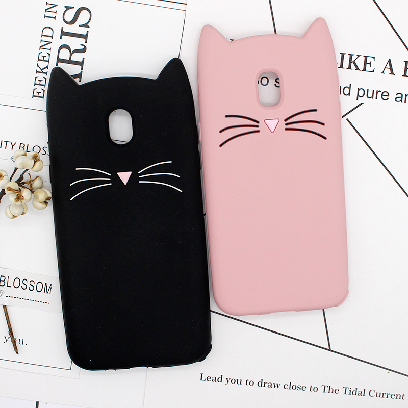 Galleria fotografica 3D Cute Cartoon Gel Coque Shell For Samsung Galaxy S6 Case S7 Edge S8 S9 Plus J3 J5 J7 2016 Pro 2017 Silicon Beard Cat Cases