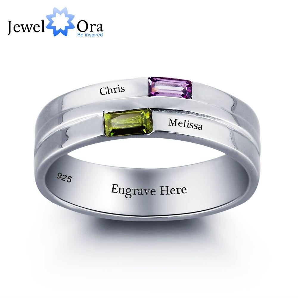 Персональное кольцо с надписями пара камень 925 пробы серебро фианит Любовь Обещание Кольцо Бесплатная Подарочная коробка (JewelOra RI101790)