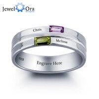 Kişiselleştirilmiş harfler yüzük çift taş 925 gümüş kübik zirkonya aşk promise ring ücretsiz hediye kutusu (jewelora ri101790)