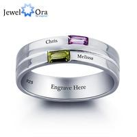 Personalisierten schriftzug ring paar stein 925 sterling silber zirkonia love promise ring freies geschenk box (jewelora ri101790)