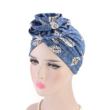 New Cotton Flower Shape Turban Cap Bohemian Style Hat For Women Ethnic Print Headwear Female Hair Accessories Bandanas Caps kyqiao mexican style ethnic vintage black blue embroidery flowers bandanas 2017 women winter original hippie hat free shipping