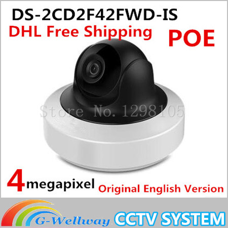 Free ship English Version Ds-2cd2f42fwd-is 4mp Wdr Mini Pt Network Cctv Camera, Dome Ip Camera Poe for Sd Card Recording, Alarm hik 4mp wdr dome camera ds 2cd2142fwd i 4mm poe ip cctv mini camera english version unlimited update