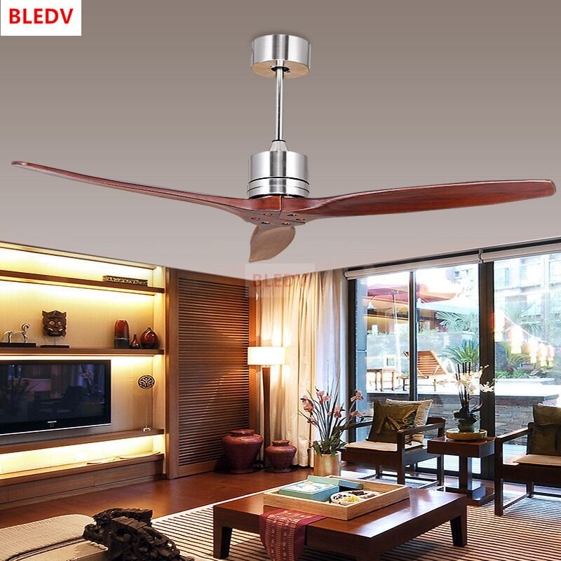 Modern Nordic 3 Wooden Blades Ceiling Fan With Remote