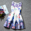 Novelty print colorful Watercolor flower patterns dresses sleeveless O-neck girls dress A-line knee-Length kids clothes