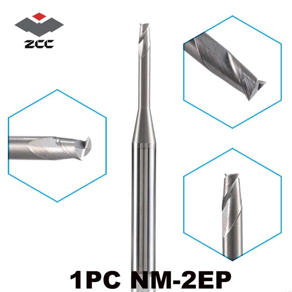 1PC ZCC.CT NM-2EP 2 Flutes Flattened Carbide End Mills Micro Diameter Long Neck End Mill For Copper Machining CNC Milling Cutter