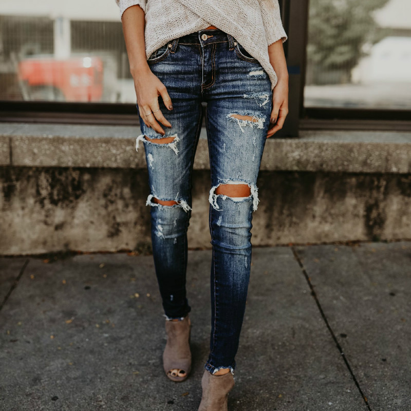 2018 Spring Fashion Bleached Ripped   Jeans   Women Cotton Denim Slim Elasticity Skinny Pants Moustache Effect Vintage   Jeans   Femme