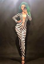 купить Sexy Zebra Sparkling Crystals Stones Jumpsuit Nightclub Party Celebrate Singer DJ DS Performance Stage Wear Women Dance Bodysuit по цене 3912.37 рублей